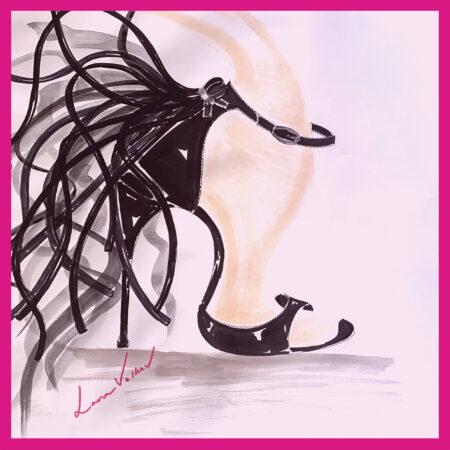 electra black pat lana with frame